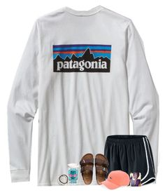 """""""Last home game today"""" by stripedprep ❤ liked on Polyvore featuring Patagonia, NIKE, Birkenstock, Tervis, Vineyard Vines and Tai"""