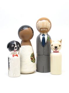 Personalized Wedding Cake Toppers Bride/Groom Wedding Decor with Two pets or Children Goose Grease The Original Custom Wooden Peg Dolls