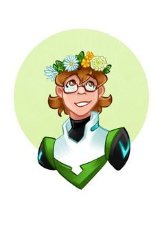 Voltron characters with flower crowns. Pidge.