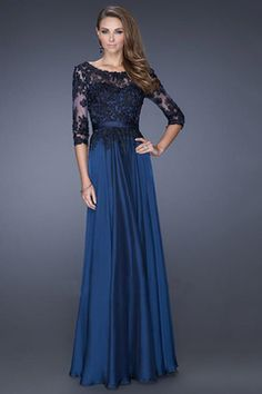 2015 3/4 Length Sleeves Scoop A Line Prom Dresses Chiffon With Black Applique Floor Length US$ 169.99 STPG665PP3 - StylishPromDress.com