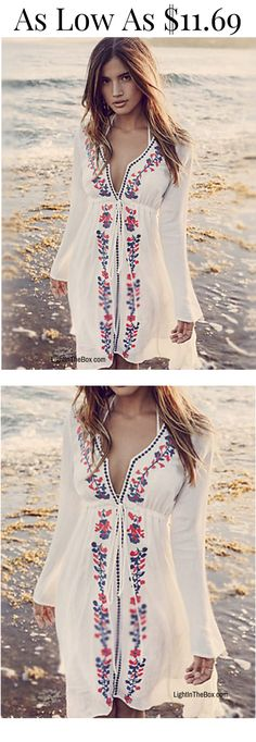 A must-have for beach vacation - chic boho ethnic print white bikini wrap/ dress. Like it? click on the picture to shop at $11.69.