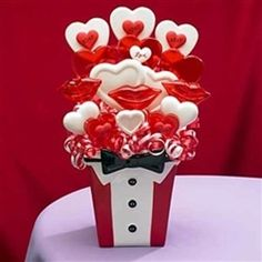 Valentine's Day Candy Bouquet Bow Tie Kisses