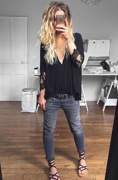 Chiffom black blouse pair of gray jeans