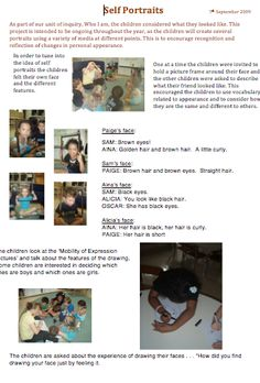 Reggio: Examining Self Portraits – A Journey Into Inquiry Based Early Learning Reggio Inspired Classrooms, Reggio Classroom, Inquiry Based Learning, Early Learning, Learning Objectives, Reggio Emilia, Observation Examples, Learning Stories Examples, Emergent Curriculum