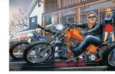 David Mann Art Stockton Inn Print Easyriders Harley Davidson HD H D
