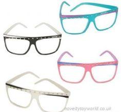 10b10e30815 Studded Frame Clear Lens Glasses. Novelty Toy World