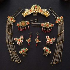 Chinese Traditional Wedding Bridal Headpieces Hair Pins and Jewelry Set