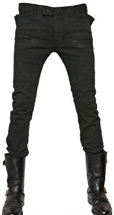 Balmain Extra Slim Stretch Denim Jeans in Green for Men