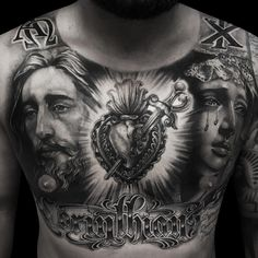 Tattoos By Ron Stoppable - Page 4 of 31 - Find Tattoos Online Full Chest Tattoos, Chest Tattoos For Women, Chest Piece Tattoos, Pieces Tattoo, Tattoos For Guys, Cool Tattoos, Jesus Chest Tattoo, Jesus Tattoo, Portrait Tattoo Sleeve