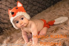 Crochet Fox Hat and Diaper cover  - PDF Pattern (5 sizes) for when he sits up