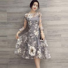 New Fashion Slim Three Quarter Sleeve Mesh Organza Floral Print Printing Casual Women Summer Dress Long A Line Dresses Vestidos