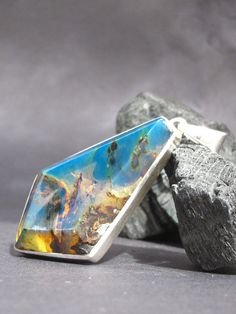 Blue amber pendant Wild Diamond  superb by LarimarAndSilver on Etsy