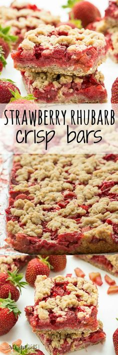 Rhubarb desserts - Strawberry Rhubarb Crisp Bars Oatmeal cookie base topped with sweet and tangy strawberries and rhubarb topped with more oatmeal cookie topping your favorite summer dessert is now a portable treat Rhubarb Desserts, Just Desserts, Delicious Desserts, Dessert Recipes, Desserts With Strawberries, Rhubarb Cookies, Strawberries Garden, Cheesecake Strawberries, Rhubarb Cake