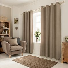 George Home Textured Weave Mink Eyelet Curtains | ASDA