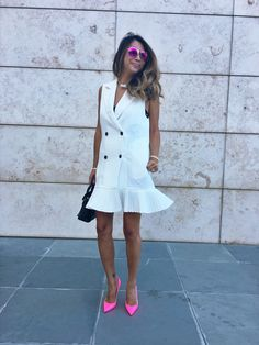 white dress, bridal shower dress, cute dresses, birthday dress, how to style your white dress, pink pumps, pink shoes, outfit inspiration