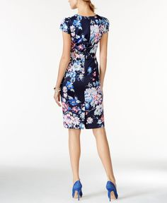 Betsey Johnson Floral-Print Midi-Length Sheath - Dresses - Women - Macy's