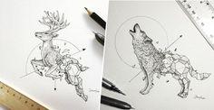10 superbes dessins qui mixent animaux et formes géométriques