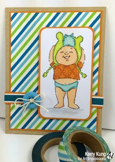 Art Impressions adorable Ai Little People Little Stinker.  Baby boy card.