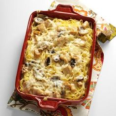 Mom's Turkey Tetrazzini Recipe from Taste of Home -- shared by Emma Hathway Price of Tampa, Florida