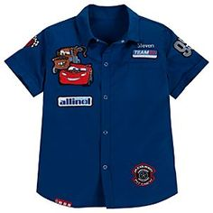 Personalizable Woven Mechanic Cars 2 Shirt for Boys Got this for Bentley for his first trip to Disney! Baby Shirts, Kids Shirts, Preppy Car Accessories, Disney Cars Party, Stylish Shirts, Boys Suits, Kids Wear, Boy Fashion, Boy Outfits