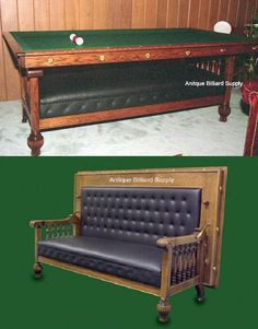 """#2-06 Rare Brunswick antique pool table in the form of a combination couch and billiard table. Constructed in the 1800s of solid oak with """"acorn"""" designs on the legs. Back folds down easily to form 7-foot regulation billiard table. Slate playing surface with adjustable leveling devices."""