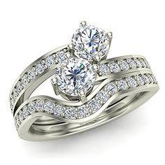 1.09 ct tw Two-Stone Diamond Ring Set with wedding band 14K Gold (G,SI) Extra-Ordinary Quality