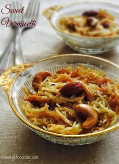 Sweet Vermicelli recipe with step by step pictures - tasty breakfast/snack made with vermicelli/Semiya, milk, sugar/jaggery and nuts for toddlers, kids and for the whole family.