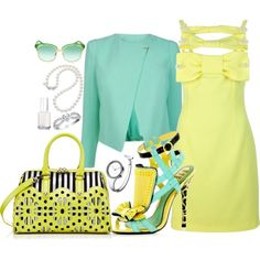 Lovely Pastels. The shoes are fierce! Too bad they don't tell you where they came from.