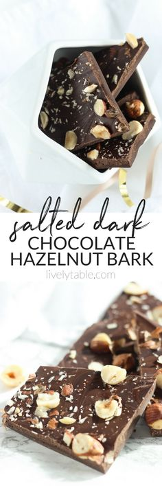 This decadent 4-ingredient Salted Dark Chocolate Hazelnut Bark is a festive holiday treat that makes a delicious last-minute gift! (#glutenfree, #dairyfree option) #chocolate #hazelnut #nutella #bark #dessert #christmas |via livelytable.com