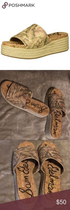 58ede8bf251 Sam Edelman Weslee Platform Slide Sandal Sam Edelman Platform Slide  Espadrille style Tan with cute leaf design New Without Box - Never Worn Sam  Edelman ...