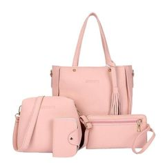 4 pieces set Women Bag Large Capacity PU Leather. Women Lady Leather  Handbag Shoulder Bags Tote ... e990a3ddce372