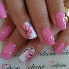 Pink Nail Art, Nail Polish Art, Purple Nails, Gel Nail Art, Nail Manicure, Pedicure, Gel Nails, Pretty Toe Nails, Pretty Nail Art