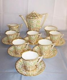 Royal Albert China and gold Floral Coffee c1927-35