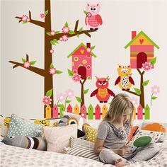 2017 New Happy Creative Decorative DIY Wall Stickers Owl Tree Cartoon Removable Vinyl Decal Mural Art For Kids #Affiliate