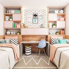 Teen bedroom themes must accommodate visual and function. Here are tips to create the coolest teen bedroom. Room Inspiration, Shared Girls Bedroom, Decor, Bedroom Themes, Girl Bedroom Decor, Stylish Bedroom, Bedroom Colors, Bedroom Design, Stylish Bedroom Design