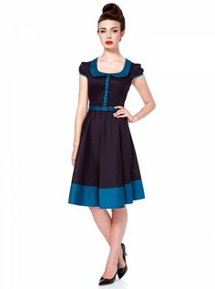 3decc6bb4723 Voodoo Vixen Retro 50 s Rockabilly Tattoo Pin up Vintage Flair Blue Dress  at Amazon Women s Clothing store