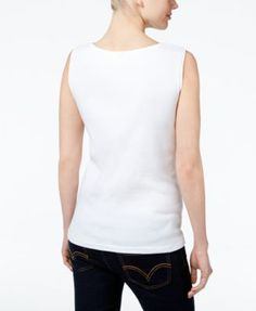 Karen Scott Petite Boat-Neck Tank Top, Only at Macy's - Tan/Beige P/XL