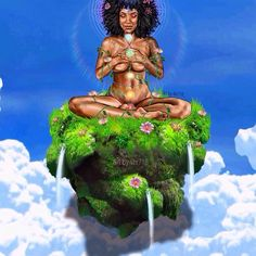 Beautiful art by 🌸 Black Love Art, Black Girl Art, Art Girl, Black Goddess, Goddess Art, African American Art, African Art, Black Power, Chakra Art