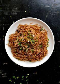 Honey Hoisin Pan-fried Noodles, by thewoksoflife.com