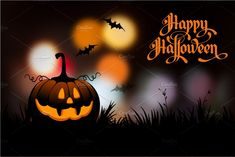 halloween night blurred background with pumpkin and calligraphy inscription happy halloween. Cheap Halloween, Scary Halloween, Halloween Pumpkins, Halloween Party, Halloween Vector, Halloween Tips, Halloween Festival, Happy Halloween Pictures, Halloween Images