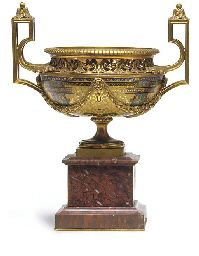 A French ormolu, champleve enamel and marble jardiniere  BY FERDINAND BARBEDIENNE, LAST QUARTER 19TH CENTURY