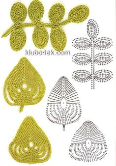 crocheted leaf patterns for irish crochet lace Crochet Leaf Patterns, Crochet Leaves, Crochet Motifs, Knitted Flowers, Crochet Diagram, Freeform Crochet, Crochet Chart, Love Crochet, Irish Crochet
