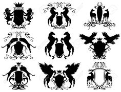 Illustration of black winged horses with heraldic shield and crown vector art, clipart and stock vectors. Shield Vector, Horse Illustration, Free Horses, Winged Horse, Crest Logo, Little Poney, Family Crest, Coat Of Arms, Free Vector Art