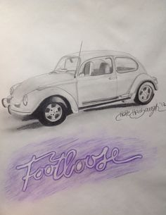 This is my Graphite drawing of a 1972 VW Beetle from the 1984 Classic movie, and 2011 remake of the movie, 'Footloose'. I used Chalk-Pastel Colored Pencils to create the 'Footloose' logo.