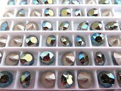 12 Iridescent Green Foiled Swarovski Crystal Chaton by BeadwareIL-$2.95,24-$5.45