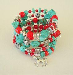 Boho Southwest Bracelet Stack Bracelet Turquoise by BohoStyleMe