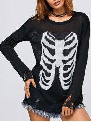 Halloween Frayed Bone Pattern Knitwear