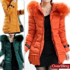 Clearance Down Parkas Korean 2014 Winter X-long Slim Woman Cotton Coat Fur Collar Hooded Jacket Warm Overcoat Hot Sale