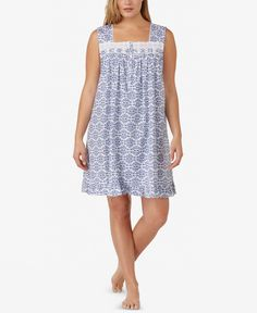 5f9433c75a5 Eileen West Plus Size Eyelet-Trimmed Cotton Knit Nightgown Women - Bras