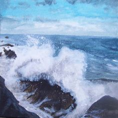 Splash waves Original Painting on Canvas by MarisaOriginalArt, £20.00